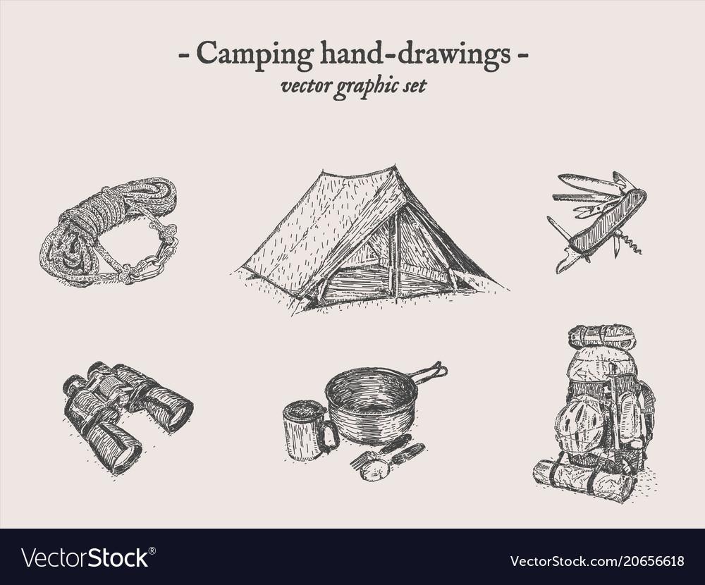 Camping outdoor drawings set