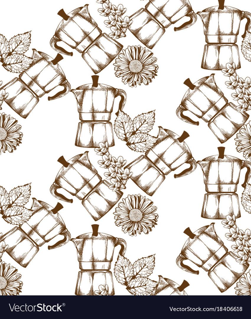 Coffee kettle vintage retro pattern
