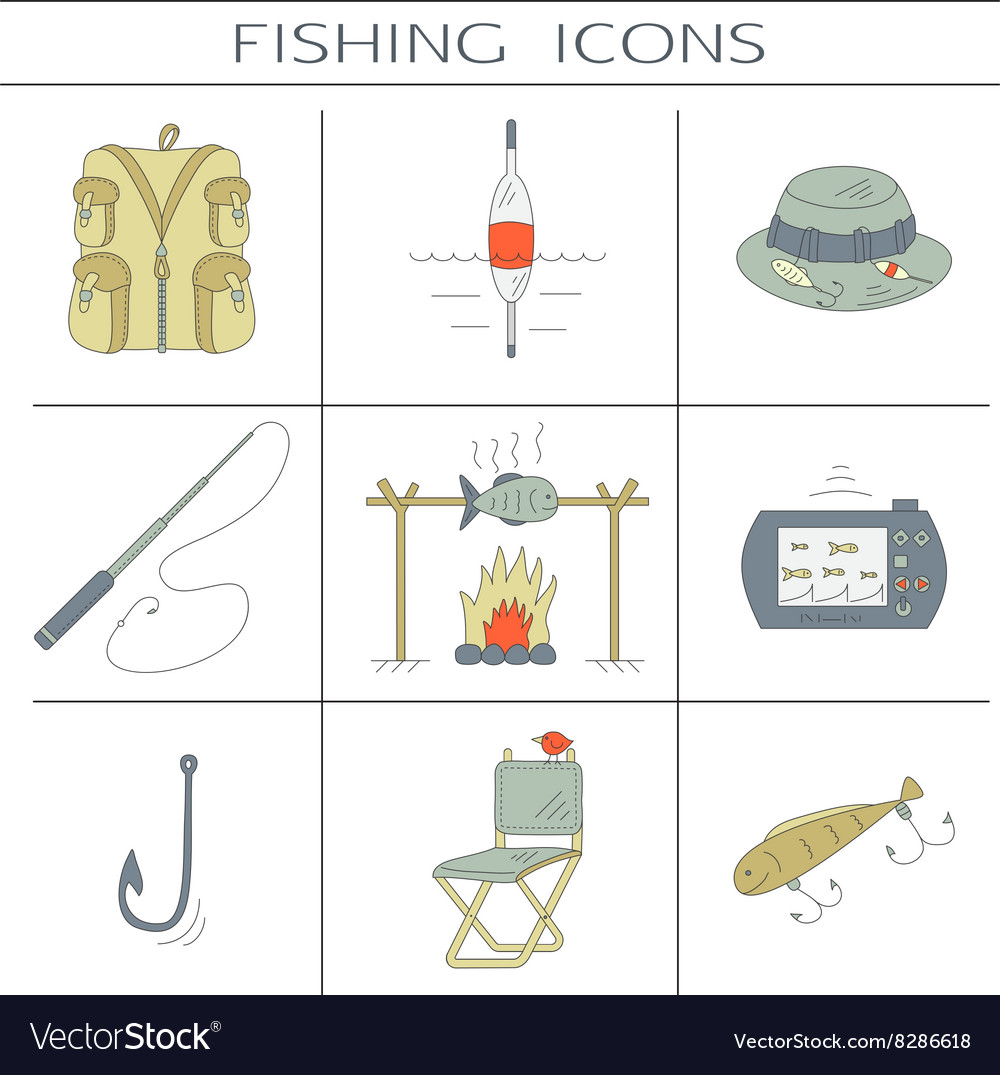 Fishing color icons
