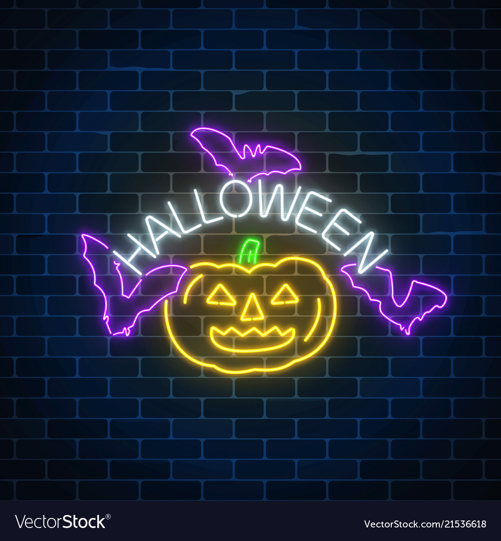 Glowing neon sign of halloween banner design with