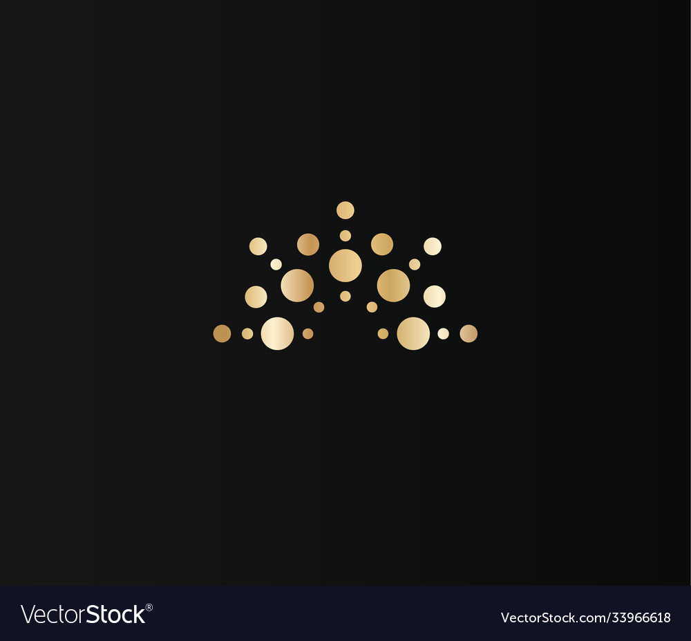 Golden crown dots icon on black background