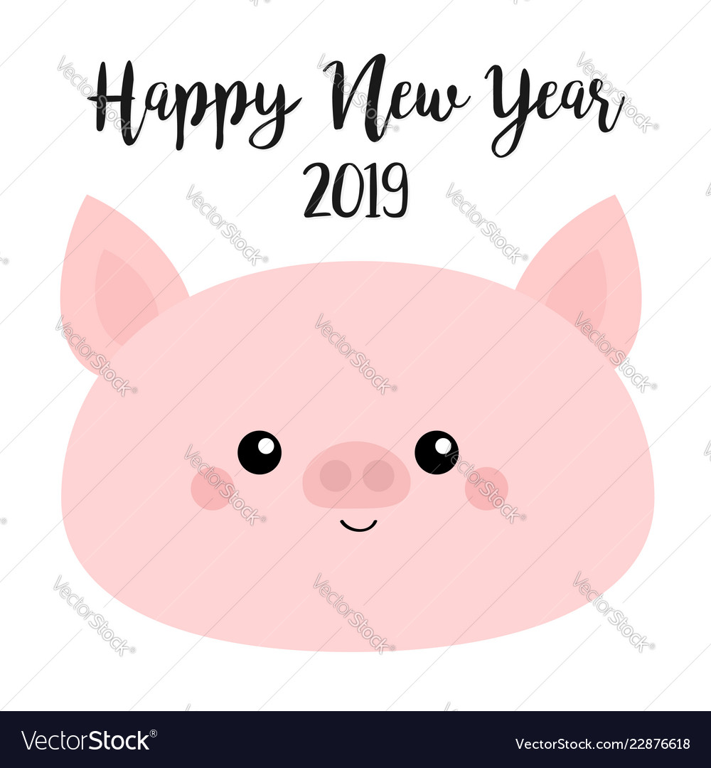 Happy new year 2019 pig smiling face pink piggy