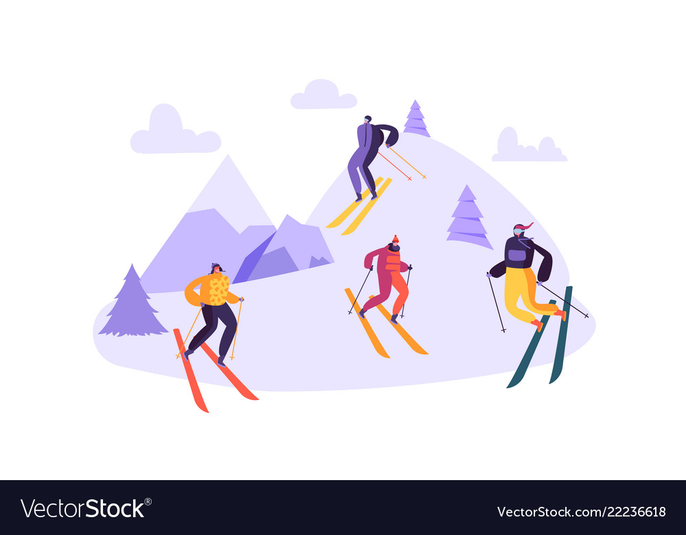 Mountain skiing characters in goggles and ski suit