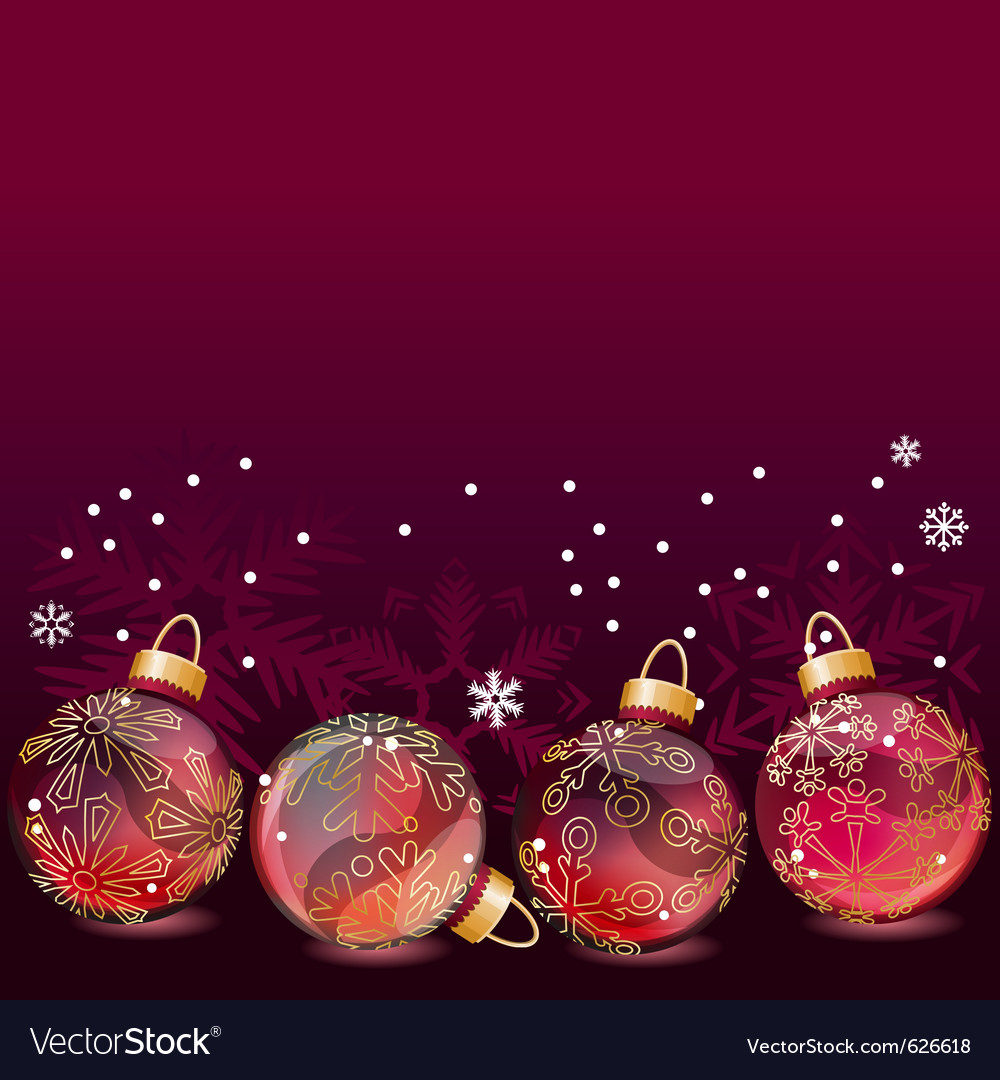 Red christmas background with glass balls