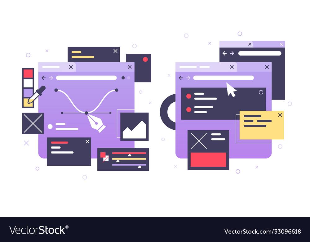 Set icons web design laptop diagram online