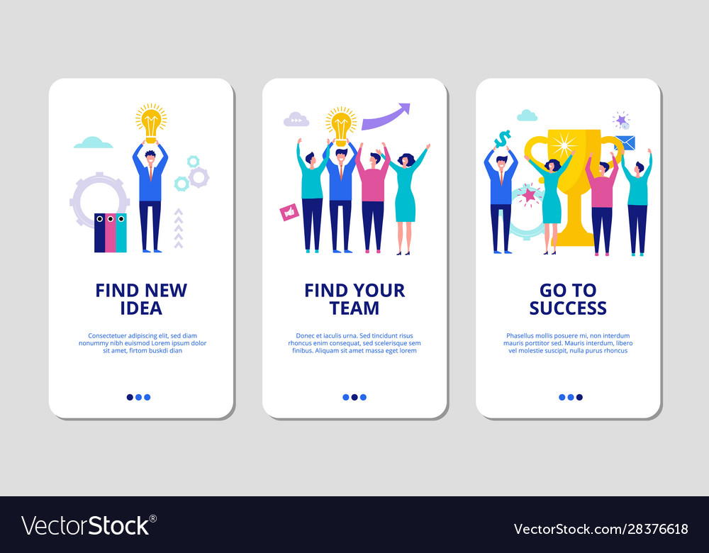 Start up concept find your team mobile app pages