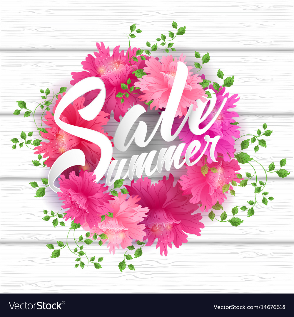 Summer sale lettering with blooming flowers