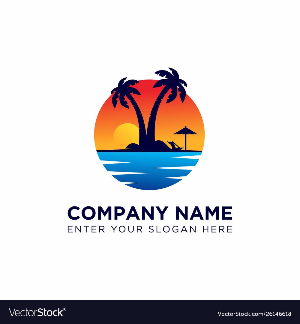 Sunset logo design template