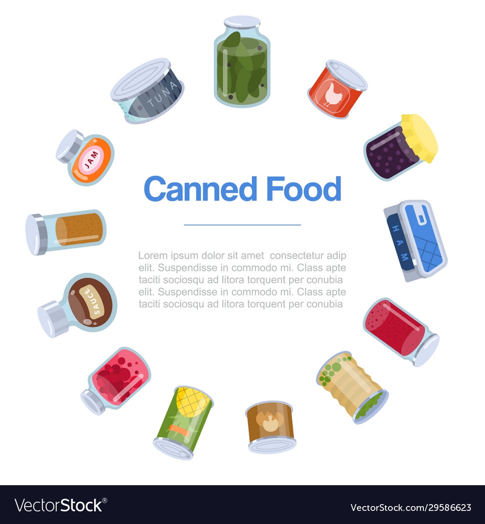 Canned food goods in circle poster