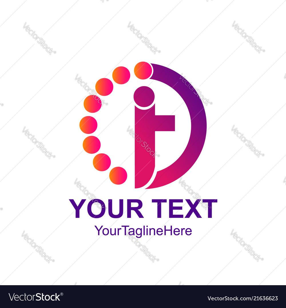 Circle dot human letter i or t logo design