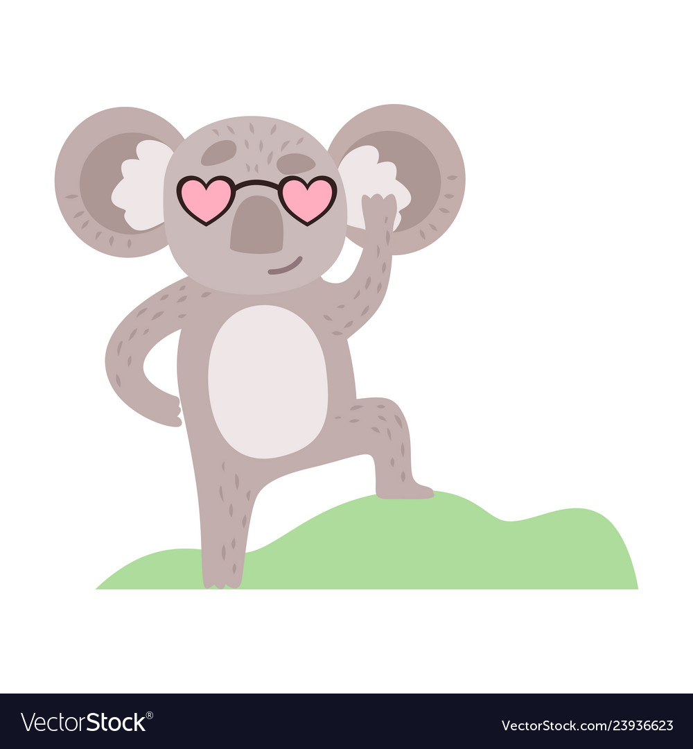 Cute koala bear in heart shaped glasses funny