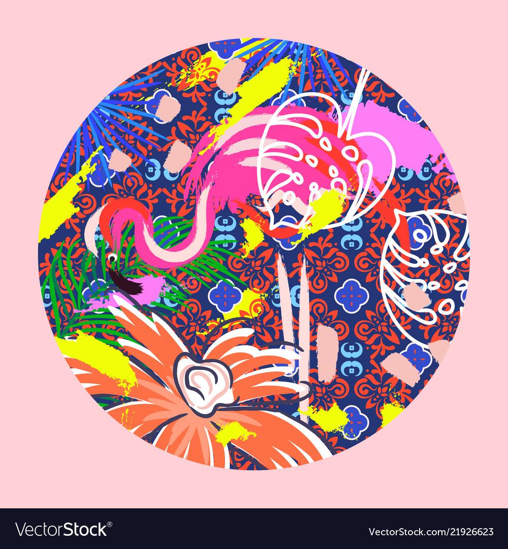 Flamingo bird in a circle