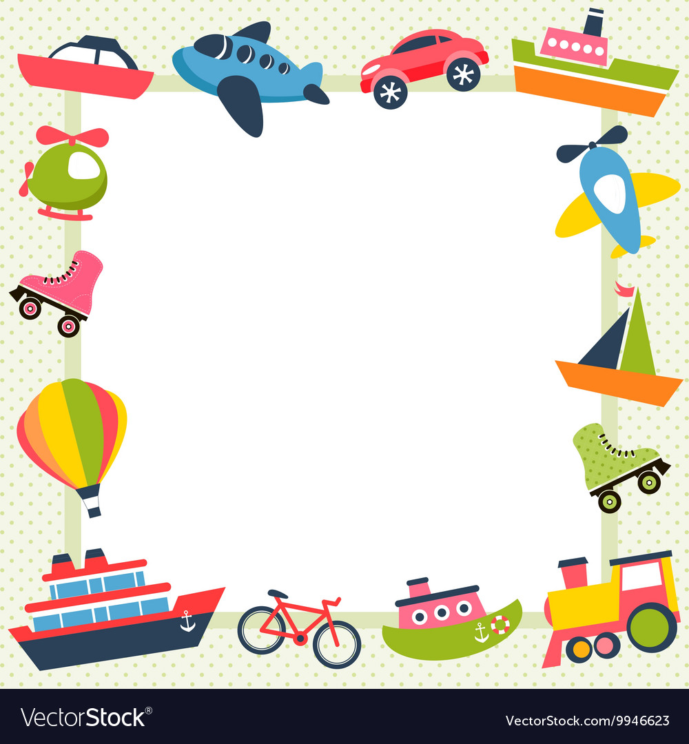Frame with colorful transport icons vector image