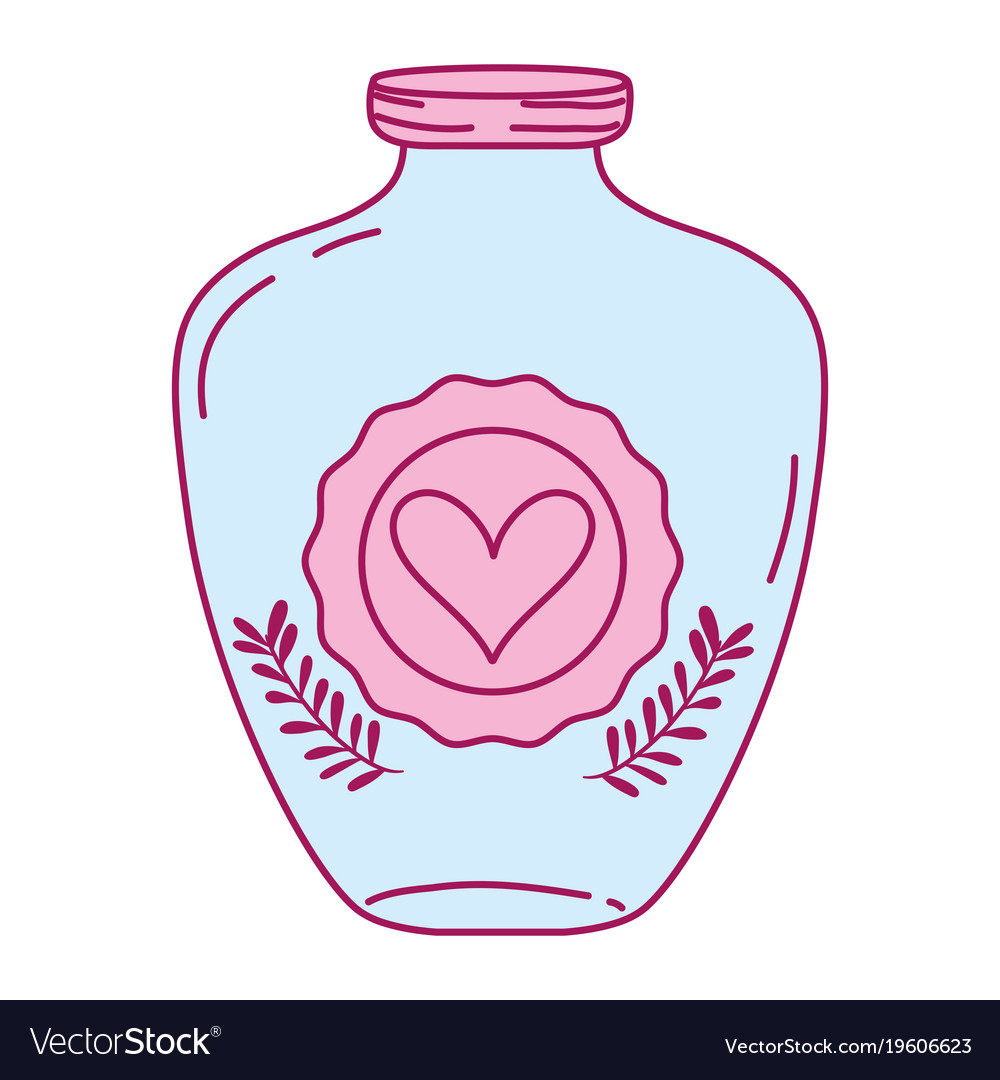 Full color mason jar with heart sticker and
