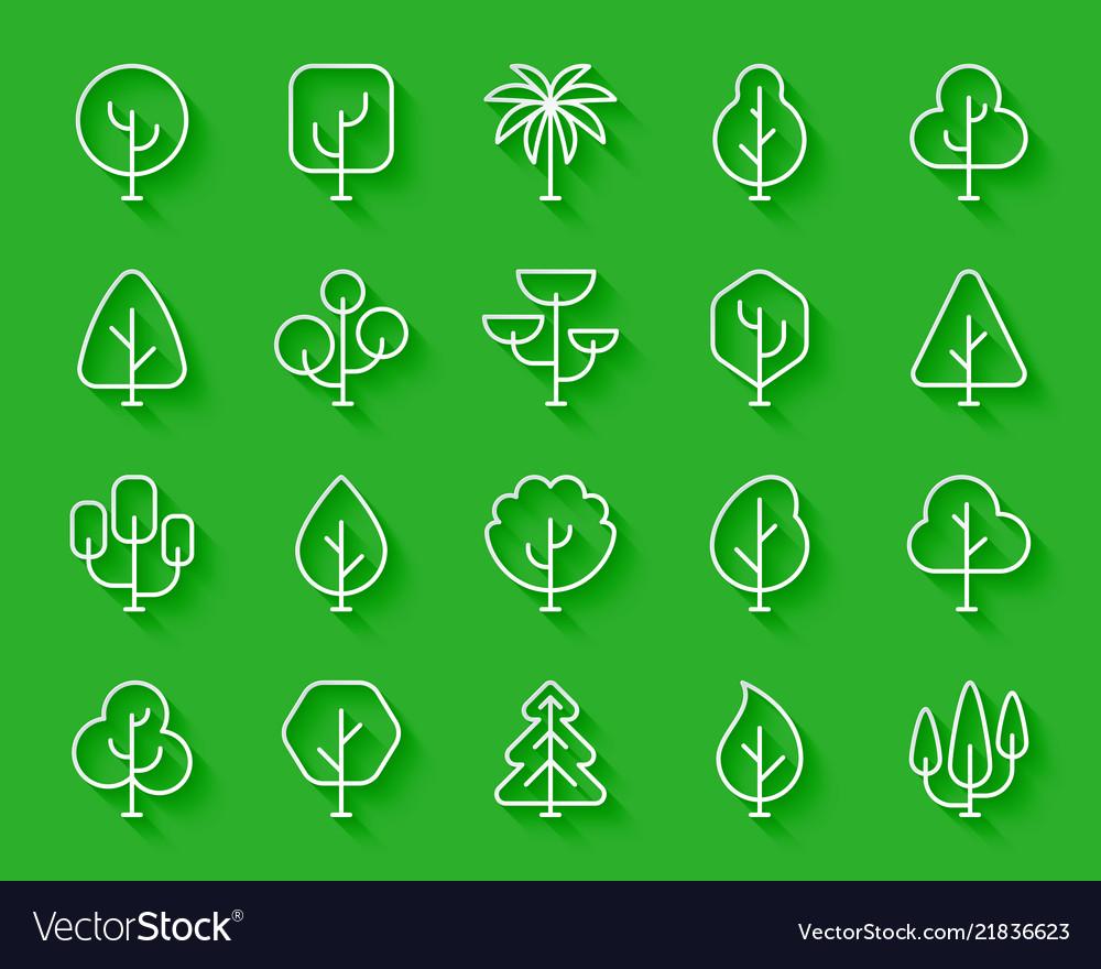 Geometric trees simple paper cut icons set