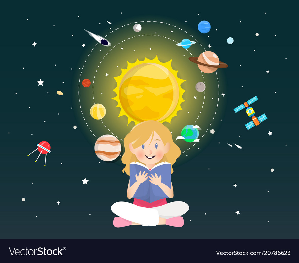 Girl reading a book about universe