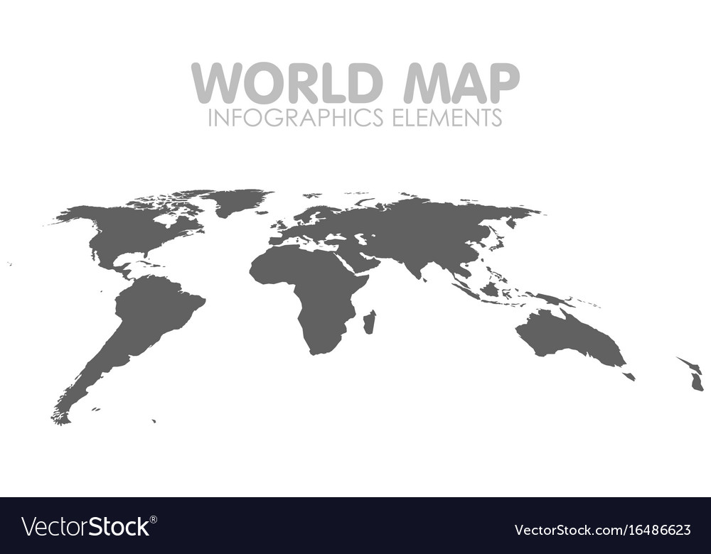 Grey political world map isolated vector image