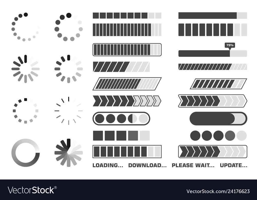 Loading process icons set download and upload