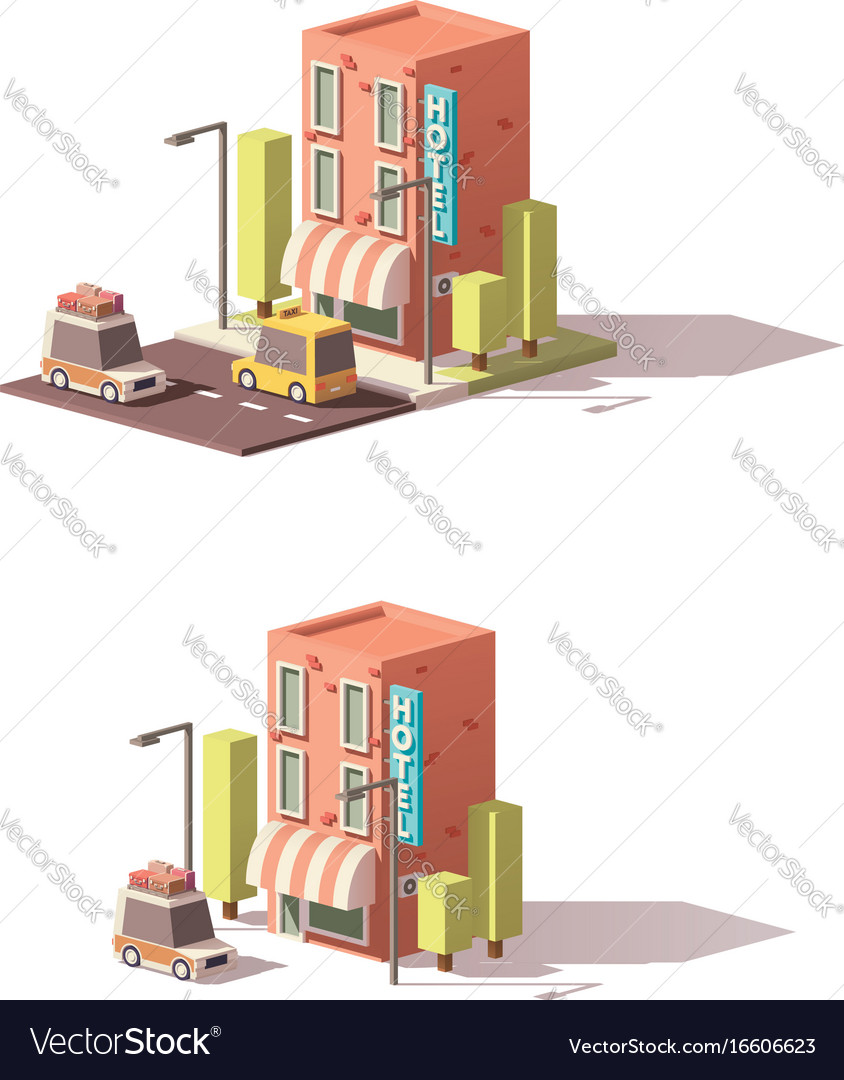 Low poly hotel icon