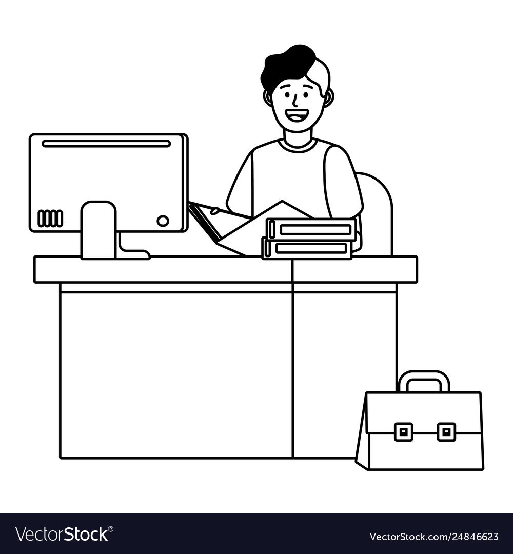 Man in a desk black and white