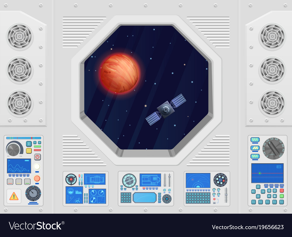 Planet and satellite through modern spaceship