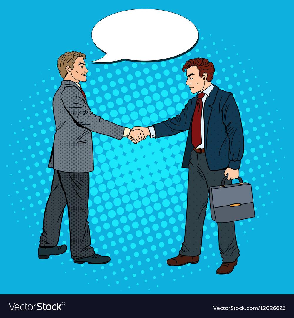 Pop Art Businessmen Shaking Hands