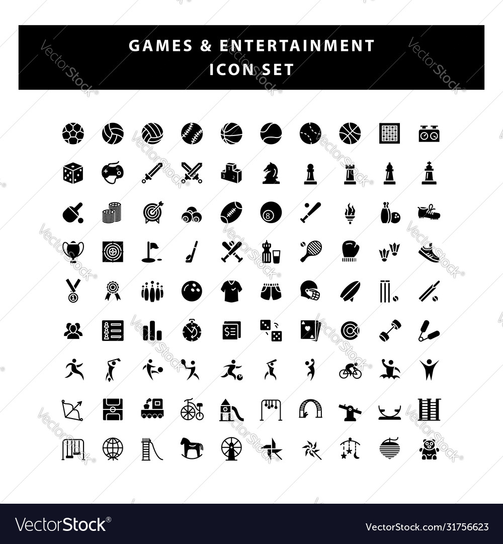 Set game and entertainment icon with glyph