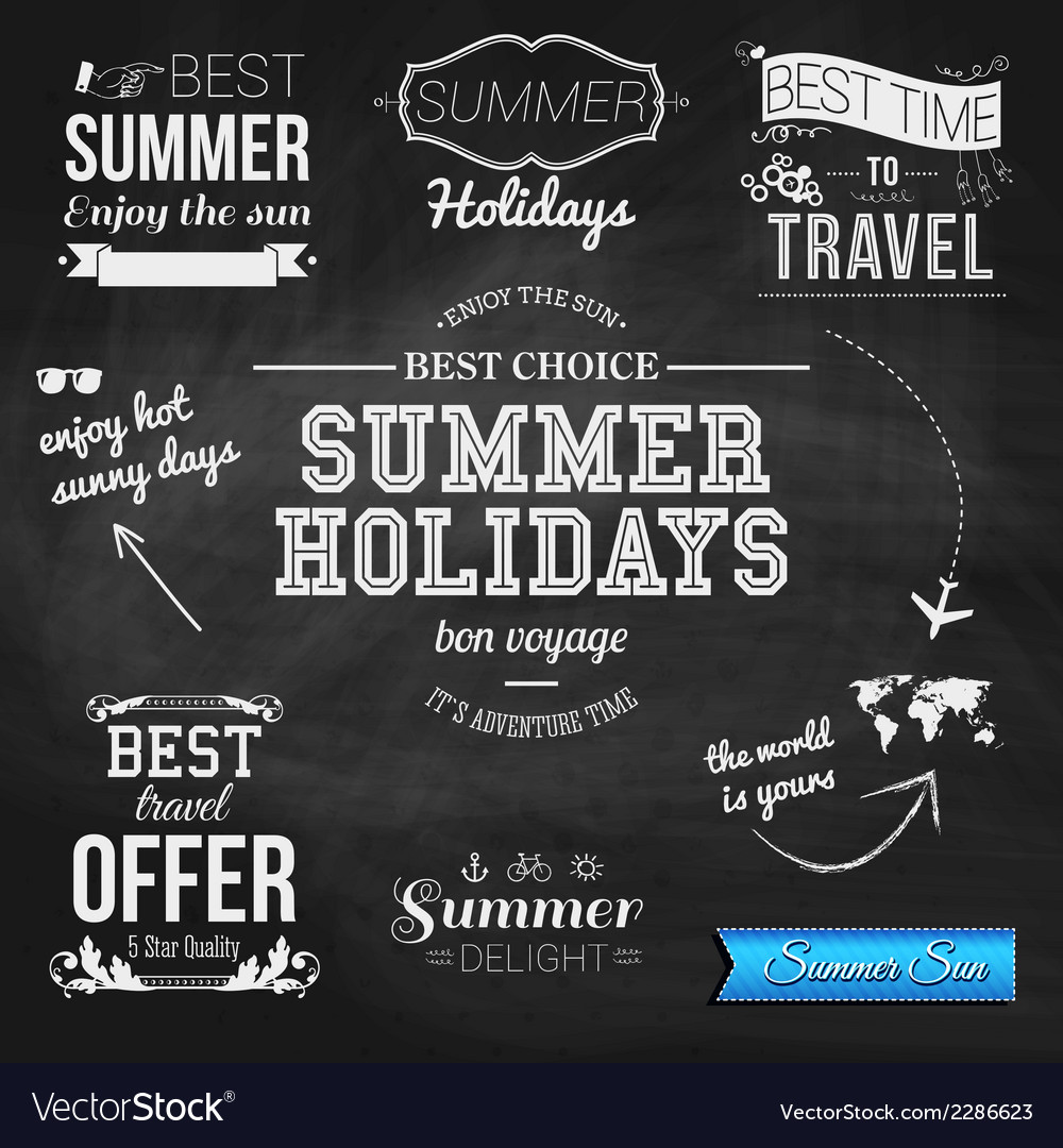 Summer design on chalkboard background Set of