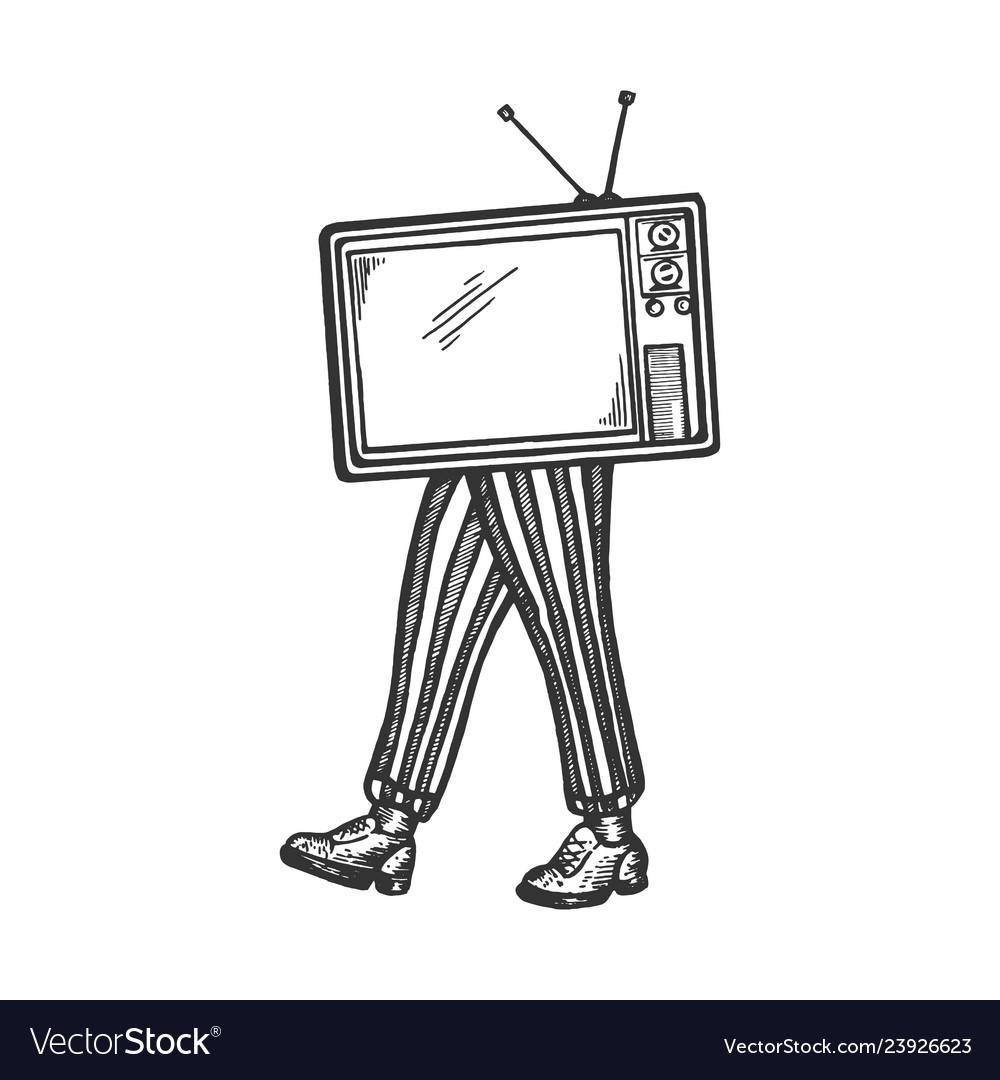 Tv walks on its feet sketch engraving