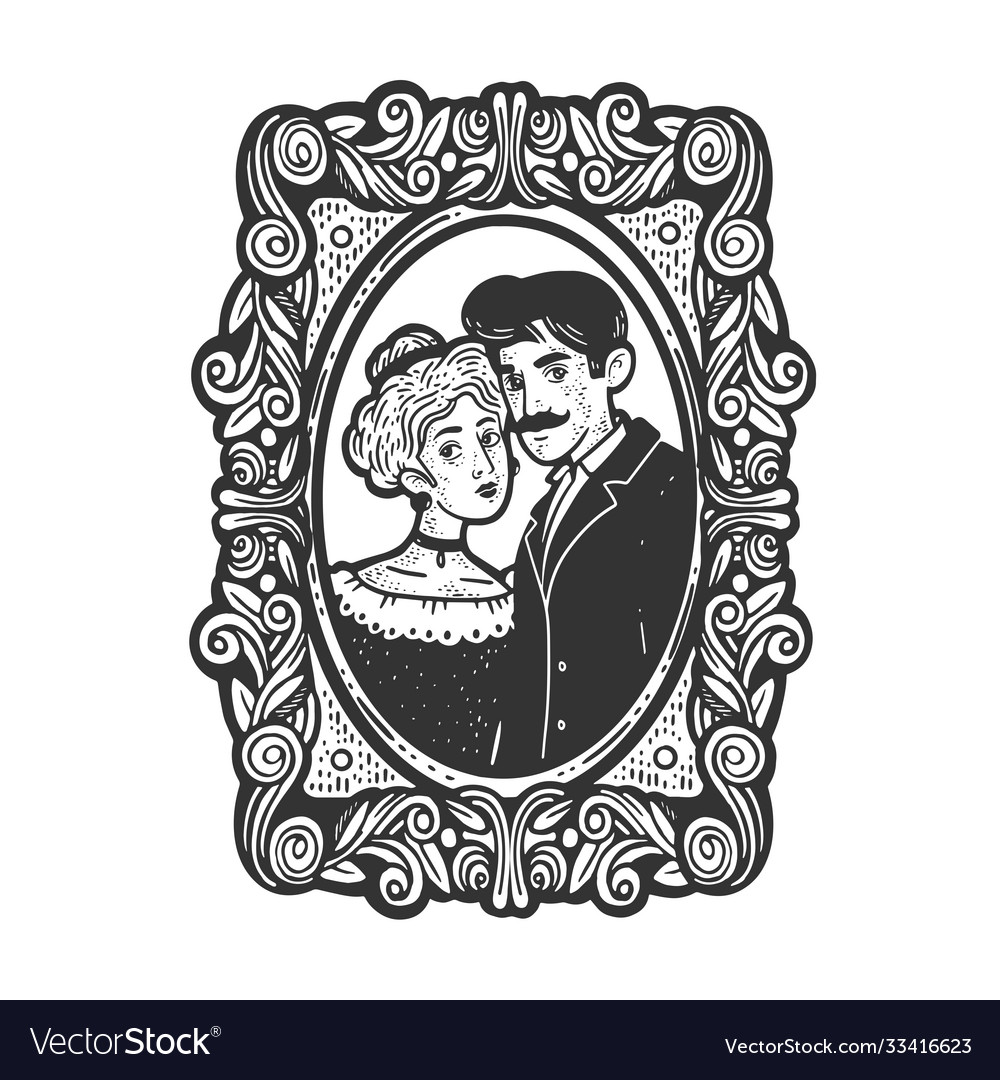 Vintage photo married couple sketch