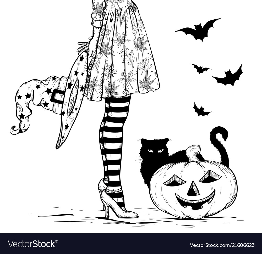 Witch with wizard hat in hand in halloween costume