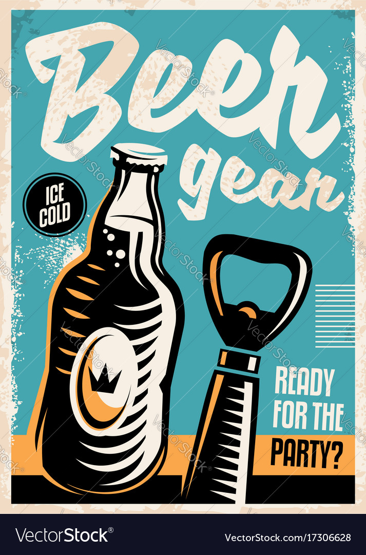 Beer bottle and beer opener retro poster design