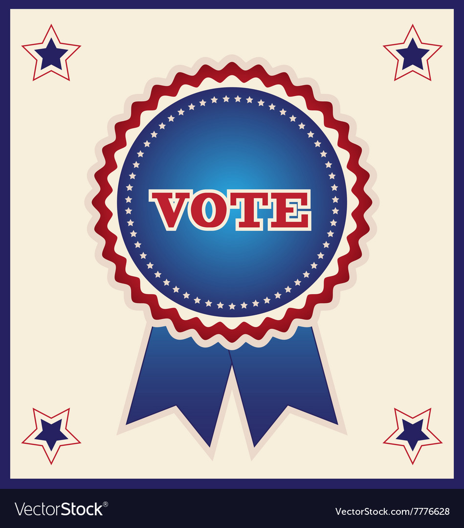Blue Election Ribbon and Stars Design Element
