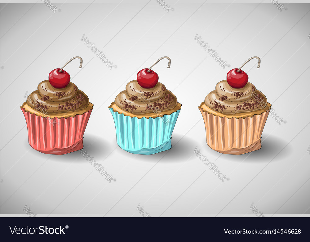 Chocolate cake set vector image