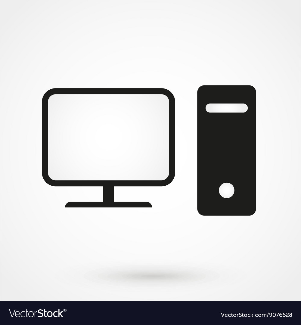 Computer icon black on white background