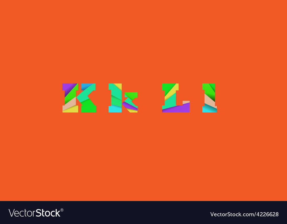 Cut into several parts within font KL vector image