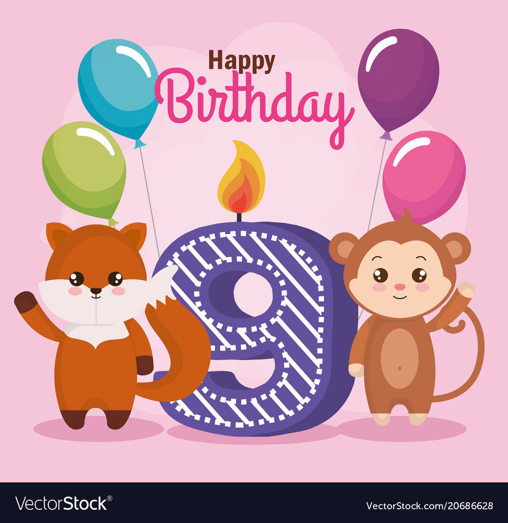 Happy Birthday Card With Fox And Monkey Vector Image