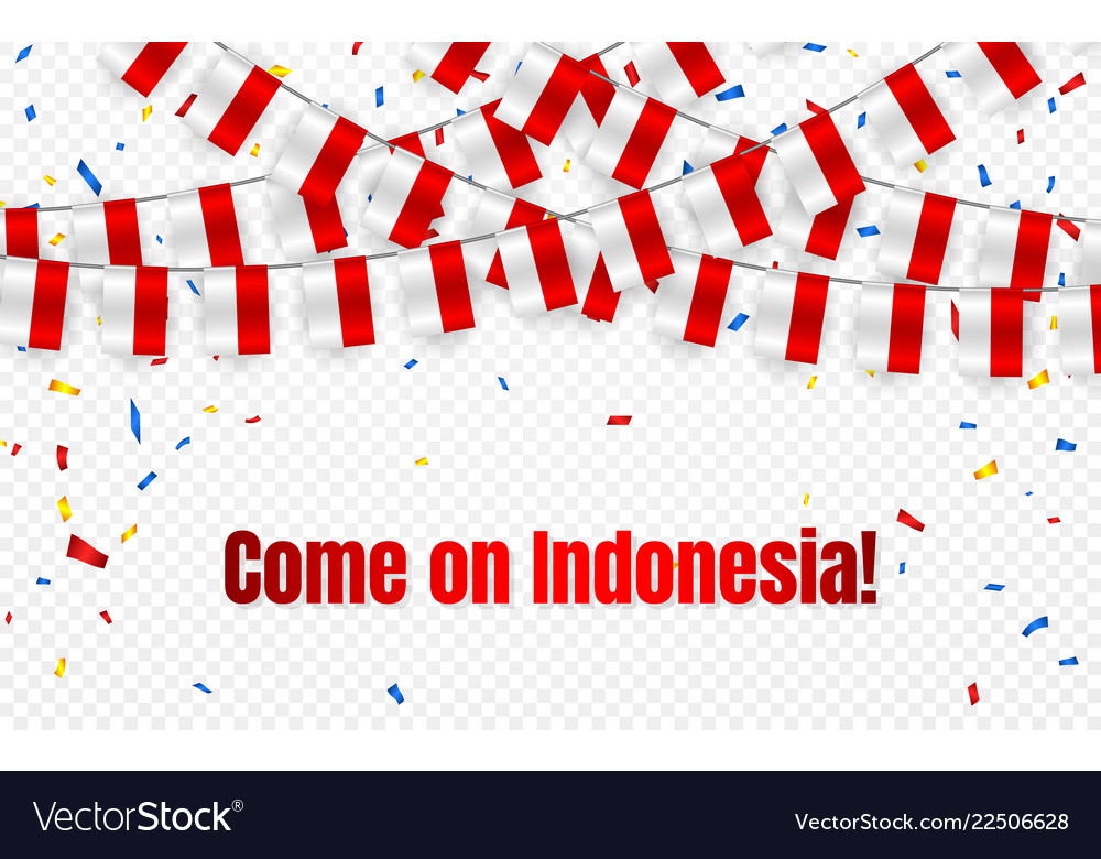 Indonesia garland flag with confetti