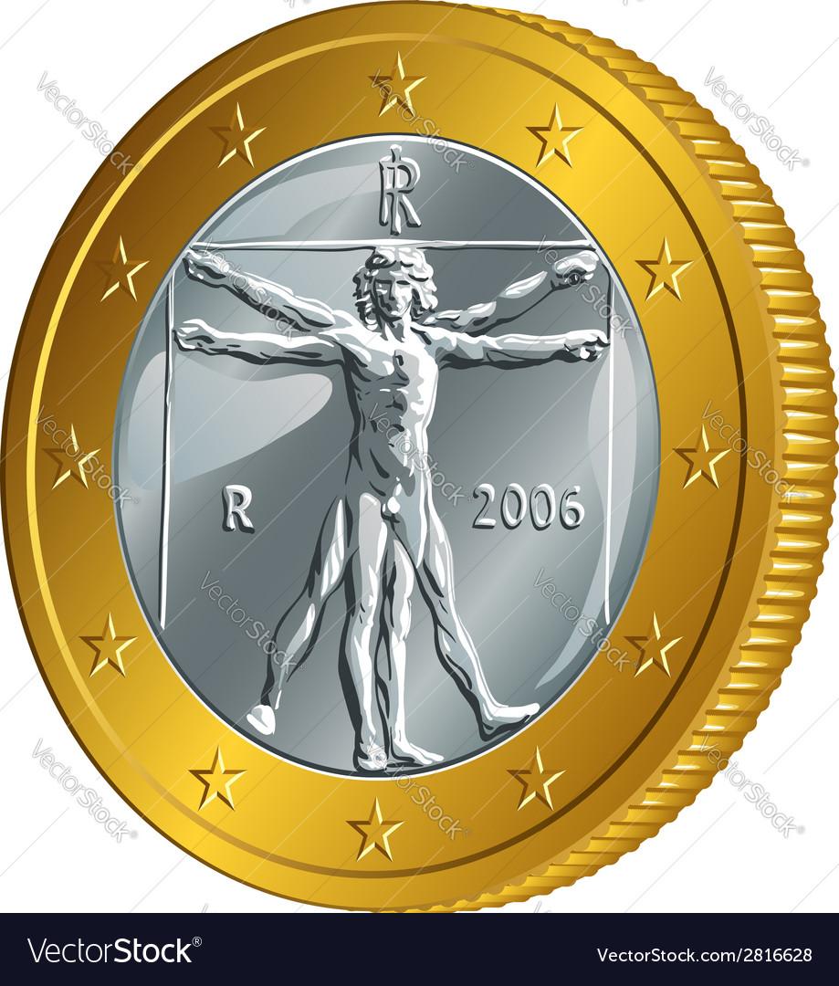 Italian money gold coin euro