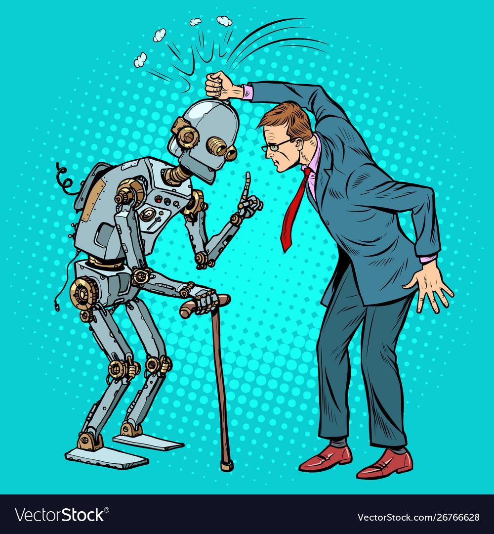 Man versus old robot