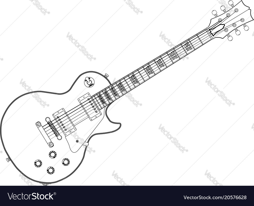 Outline blues guitar vector image