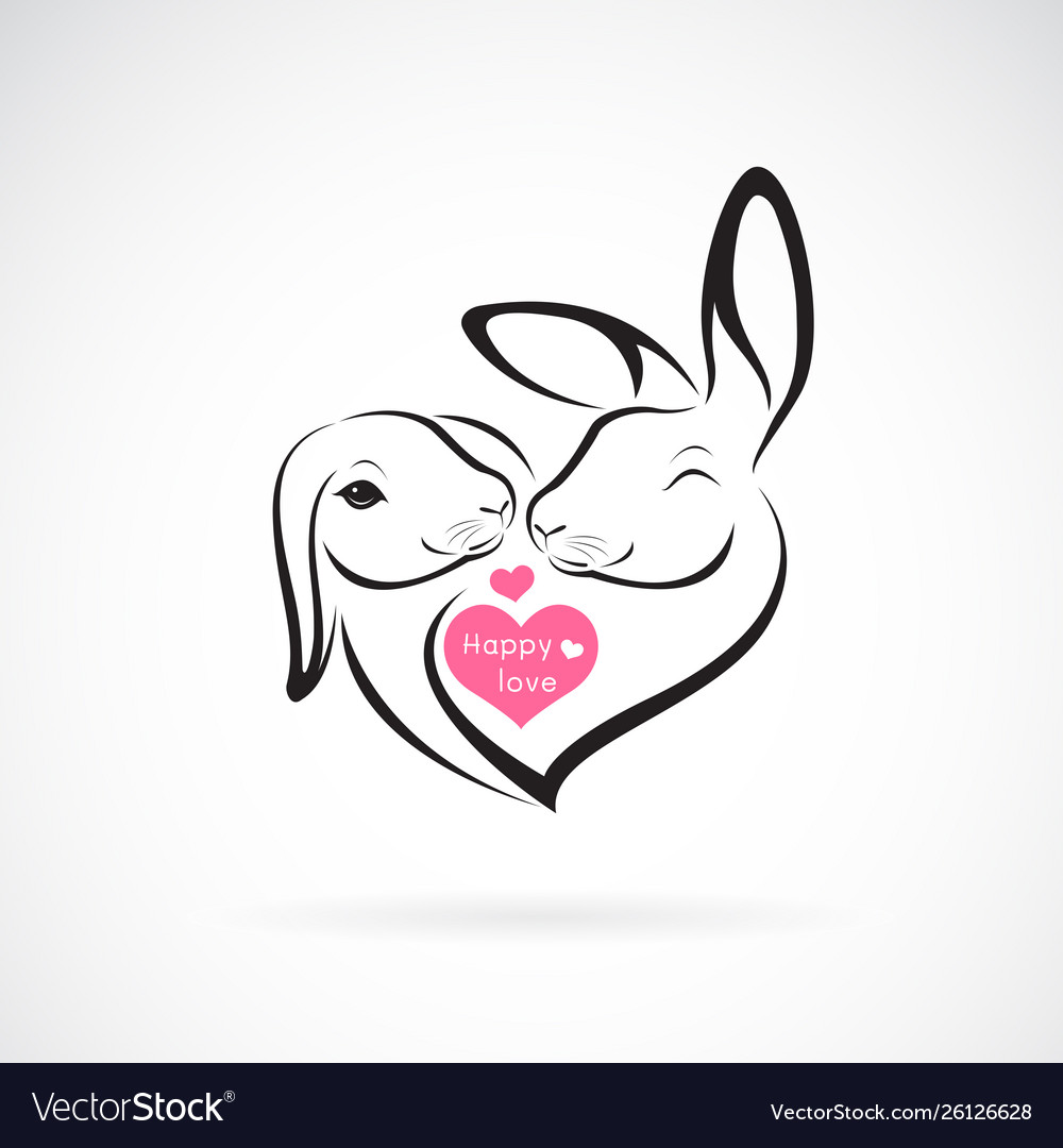 Two rabbit head design and heart on white