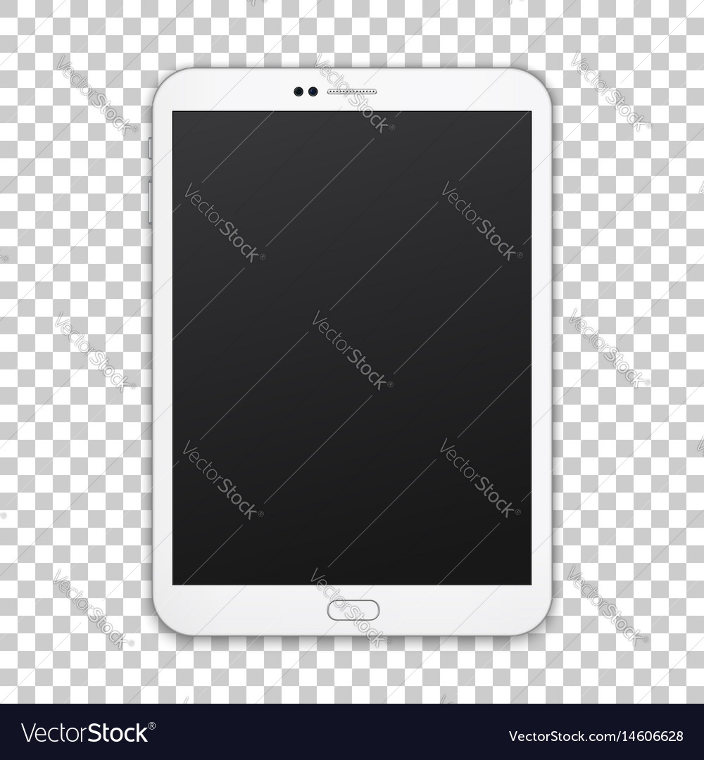 White tablet with empty screen isolated on