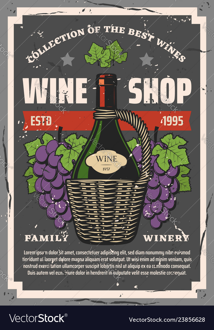 Winery and wine shop bottle and grape bunches