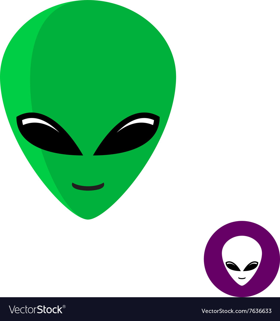 Alien face logo Planet UFO intruder with big green vector image