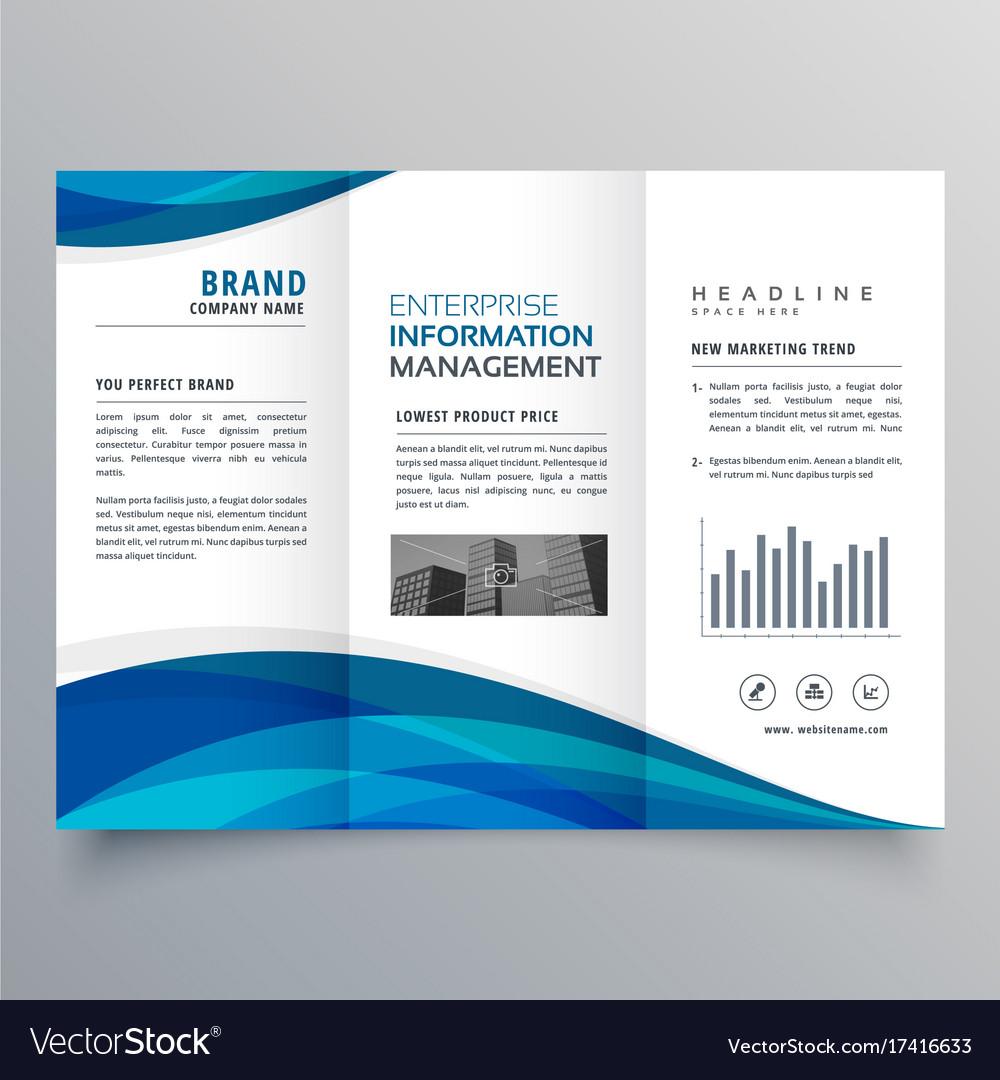 blue wave trifold business brochure design vector image