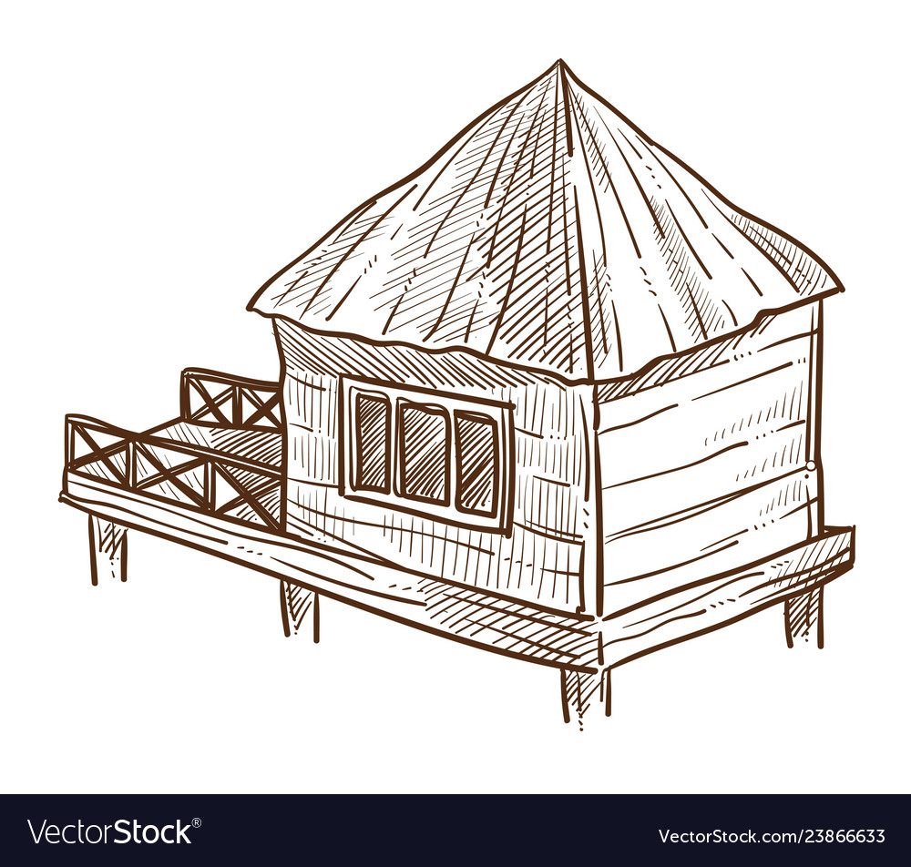 Bungalow with pier wooden dwelling on water