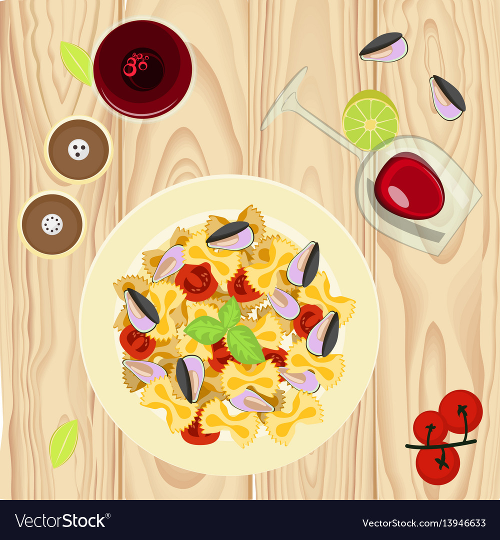 Farfalle pasta with mussels