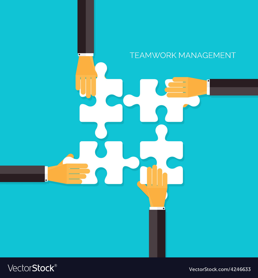 Flat background with hands and puzzles Teamwork vector image