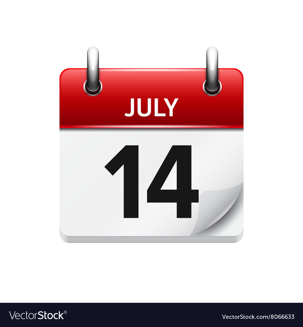 july 14 flat daily calendar icon date royalty free vector